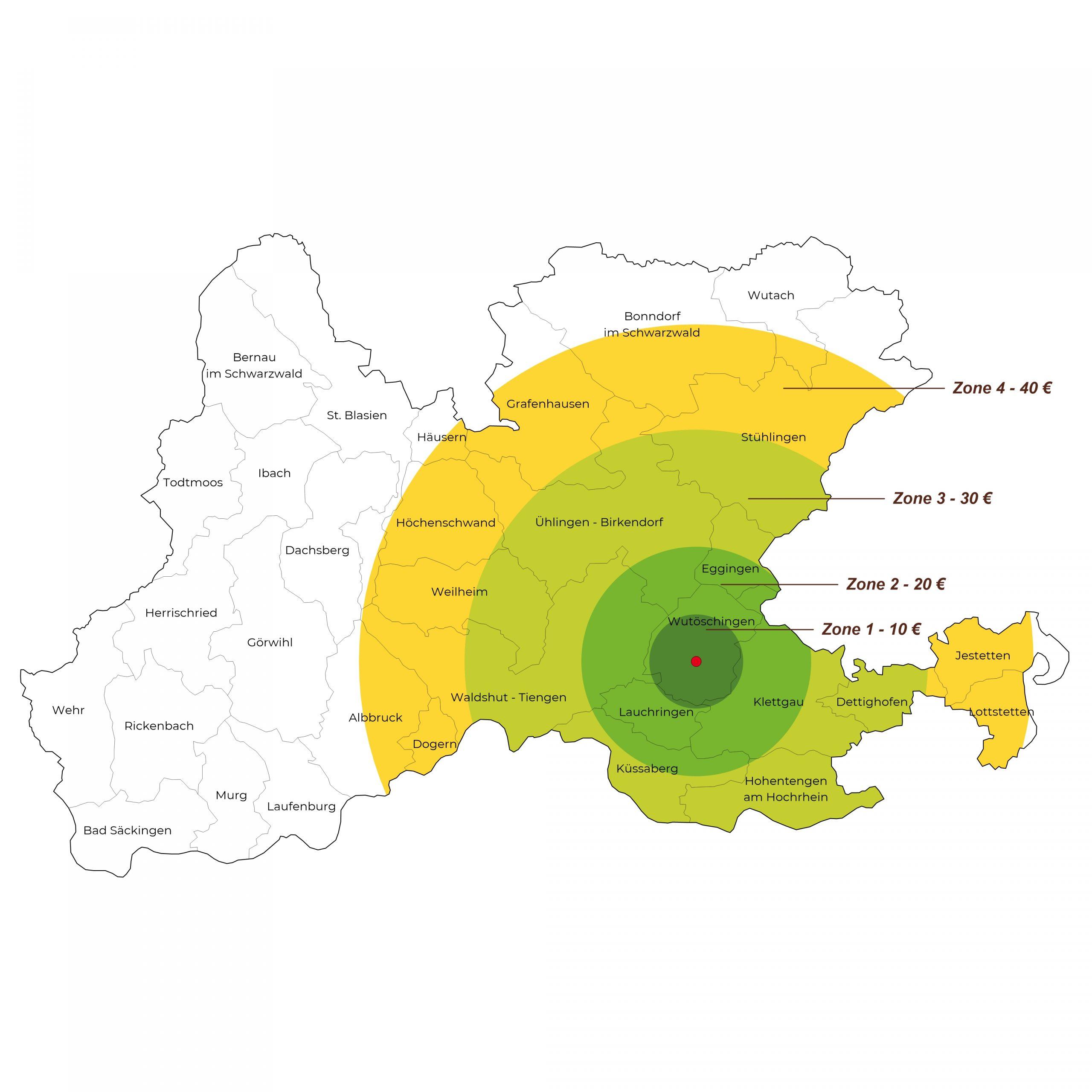 Karte des Lieferkreises der Manz Gartenwelt in Stühlingen-Schwerzen am Hochrhein